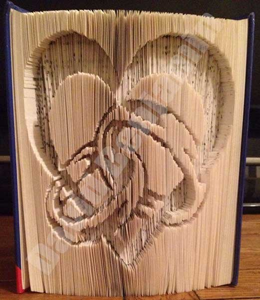 Heart With Rings Cut Fold Book Folding Pattern Cut Fold Book Art